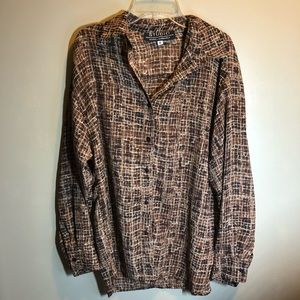 Tops - vintage brown grid button down chiffon long sleeve